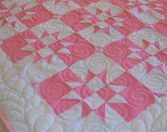 """Baby Quilt - Pink and White - 36"""" x 42.5"""" - READY TO SHIP"""