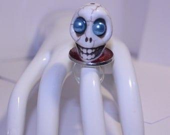 White Skull Statement Ring, Adjustable Skull Ring