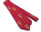 Fein Kaller Aperitif Bird and Wine Glass Red Wide Vintage 1960s Necktie Silk Mens Tie