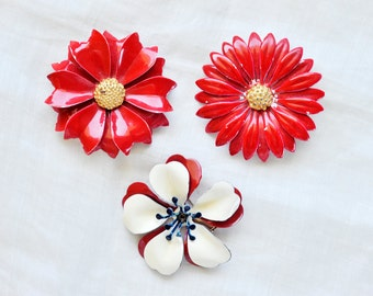 Vintage Enamel Flower Brooch, Floral Brooches, Brooch Lot, Red White and Blue Brooch, Red Gold Pink Brooch, Assemblage