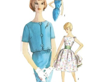 1960s Dress with Full or Slim Skirt and Jacket Pattern Simplicity 3997 B38 Sz 18