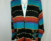 Carole Little Boho Tribal Southwest Navajo Indian Blanket Cardigan Sweatercoat L/XL