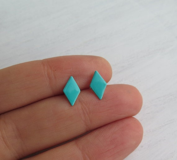 Tiny turquoise studs, Small turquoise studs, Turquoise and silver studs, Blue geometric studs