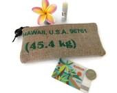 Recycled Hawaii, USA Coffee Pouch with Kukui Nut Pull. Handmade in Hawaii.