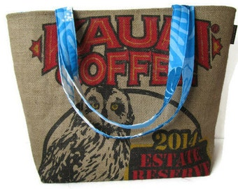 MTO. Custom. Owl Burlap Tote. Repurposed Kauai Coffee Company Sack. Handmade in Hawaii.