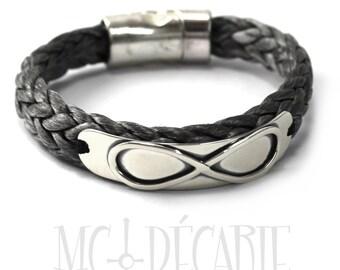 Infinity bracelet, rope bracelet, sailor bracelet, infinity symbol silver bracelet, gray bracelet, gift for her, gift for him, nautical