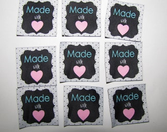 10 Made with love woven label tag clothes fabric crafts craft scrapbooking scrapbook papercrafts sew on heart labels card making