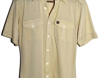 PIERRE BALMAIN Paris Vintage 80s Beige Button Down Captain Style Shirt with Epaulets Mens M Medium
