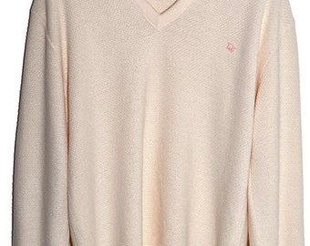Vintage CHRISTIAN DIOR V Neck Sweater Cream Soft Orlon Mens M L Boyfriend Fit