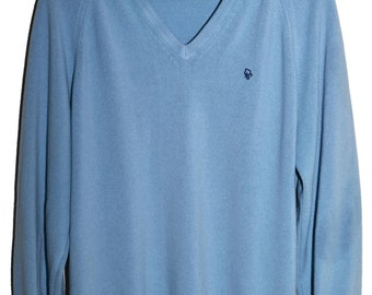 Vintage CHRISTIAN DIOR V Neck Sweater Light Blue Soft Orlon Mens M L Boyfriend Fit