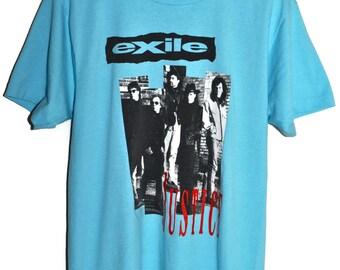Vintage 90s 1991 EXILE Justice Rock Concert Tour T Shirt Screen Stars Best Mens sz Large L