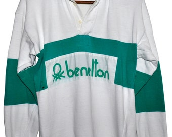 Vintage 80s BENETTON Rugby Shirt Green White Striped Long Sleeve Polo Mens Small S Medium M