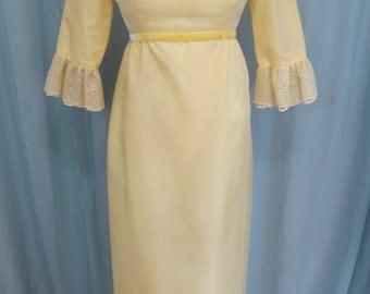 Lorrie Deb San Francisco 1960's Wedding Tea Festival Sunshine Yellow Maxi Dress size XS