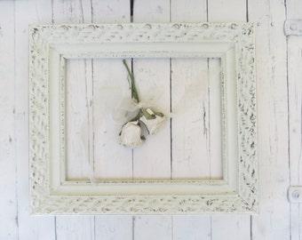 French Country Frame, Vintage Frame, White Frame, Large Ornate Frame, Shabby Cottage Decor, Paris Apartment, 11x14 Wood Frame
