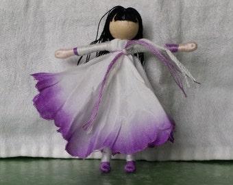 Purple Morning Glory Flower Fairy Doll, Waldorf Doll - Fairy Doll - Fairy