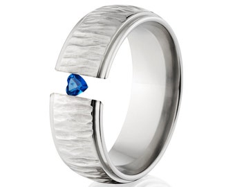 Tension Set Ring, 8mm Titanium, Uniquely You, Tree Bark, Heart Sapphire, 8HRRC-TBP-HRT-Tension