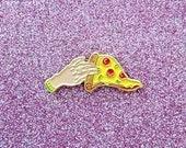 Pizza Lapel Pin - Grab a Slice - Hand Holding Pizza Illustration Enamel Pin - Slice of Pizza Cheese and Pepperoni - Tattoo Style