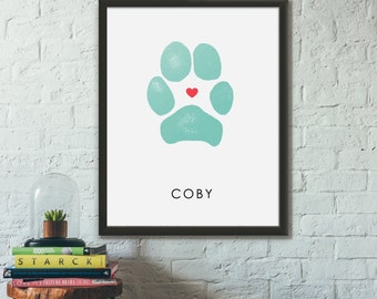 Pet Memorial Gifts, Dog Paw Print Custom Pet Owner Gift, Unique Dog Mom Present, Puppy or Cat Paws Sign Custom Pet Personalized Pawprint