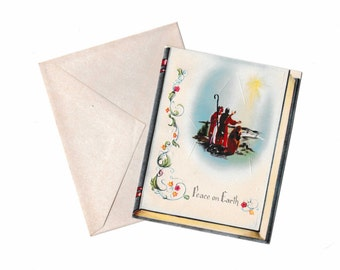 An Artistic Card Vintage 1950's Christmas Greeting with Envelope- 62 Wise Men- Unused