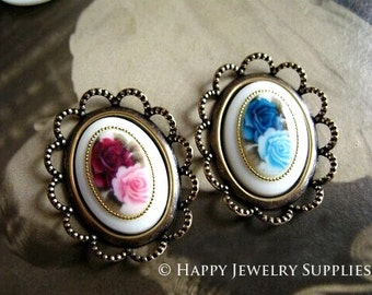 Last - 20Pcs 13x18mm High Quality Vintage Style Rose Cabochons (BG328 / BG329)--Clearance Sale