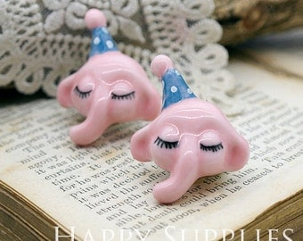 30% off - 1pcs Handmade Elephant Portrait Ceramic Pendant (PC011) - [Designer Series]