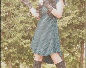 SALE - Dress - Steampunk - Burning Man - Gypsy Bohemian - Short Dress - Sexy - Turquoise - Summer Clothing - Pixie - Boheme - Size Small