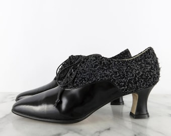 Yves Saint Laurent Velvet Leather Heels Black YSL Rive by COTIVE