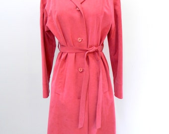 Vintage Pink Ultra Suede Coat ... 1960s Trench Coat ... Count Romi Ultra Suede Knee Length Coat...Size Extra Small to Small