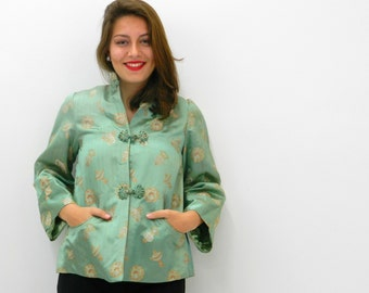 Vintage Women's Jacket ... Oriental Brocade Satin Smoking Jacket .... 50s 60s .... Size Medium to Large
