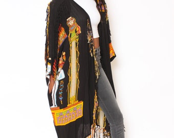 Vtg 90s Egyptian Hippie Boho Fringe Oversized Flowy Shawl Cape Caftan O/S