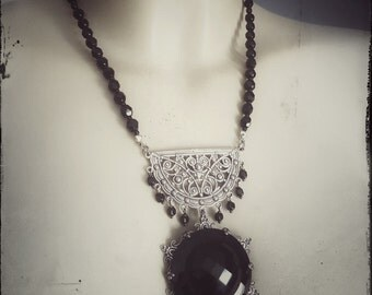 necklace - fancy, black silver, gothic, vintage, antique style, antique button, christmas, victorian, neovictorian, snowflake, cyber