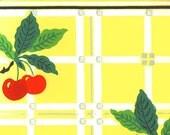 vintage mid century kitchen wallpaper red cherries on yellow background illustration digital download