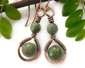 Earthy earrings Green opal earrings wire wrapped earrings earthy jewelry boho earrings simple earrings boho jewelry bohemian earrings