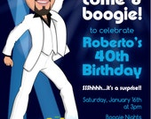 Disco Party Man's 30th 40th 50th etc Birthday Party Invitation - Illustrated from your photo DIGITAL FILE