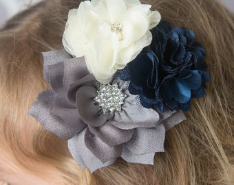 Navy hair clip, grey hair clip, grey wedding flower clip, bridal hair clip, girl hair clip, wedding hair accessories, flower girl clip