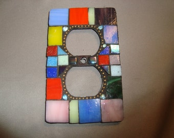 MOSAIC Electrical Outlet COVER , Wall Plate, Wall Art, Multicolored