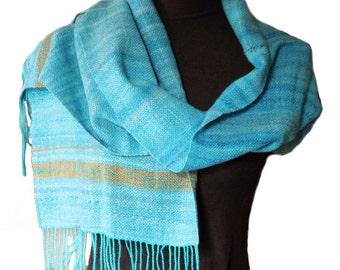 Khaleesi Blue Shawl. Hand dyed Hand spun Hand woven