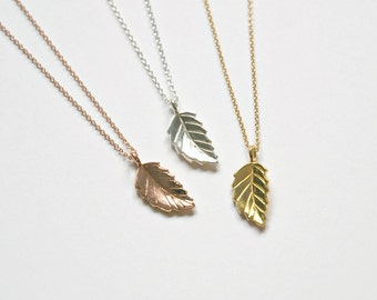 Tiny leaf necklace - gold, silver or rose gold folded leaf pendant - gift for women - little nature simple everyday jewelry - Bristol