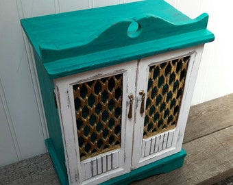 Beautiful Turquoise Teal Blue Jewelry Box with Gold accents Cottage Chic and Shabby Chic Styles