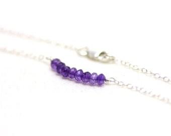 Minimal Amethyst Gemstone Bar Bracelet with Sterling Silver Chain | Very Light, Delicate, Everyday Wear Jewelry | P'tite Jolie by Azki