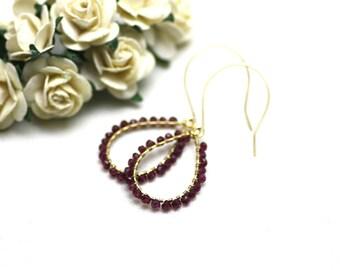 Pomegranate Red Garnet Chandelier Earrings in Gold | Rich, Deep Red Wire Wrapped Gemstones | Yasmin Earrings by Azki