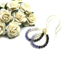 Ombre Sapphire Chandelier Earrings in Gold | Gradient of Light to Dark Blue Wire Wrapped Sapphire Gemstones | Yasmin Earrings by Azki
