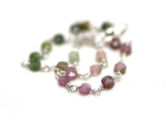 Watermelon Tourmaline Bracelet Wire Wrapped in Sterling Silver | Minimal, Natural, Shiny Stone | Multicolored Gemstone | Handmade by Azki