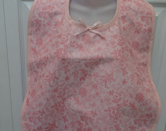 READY TO SHIP: Adult make -up /cover-up bib, reversible ,cotton ,pink and lavender/purple trim.