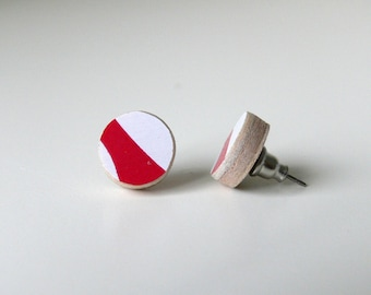 Small Stud Earrings, Round Recycled Skateboard Wood with surgical steel posts Red and White