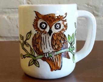 Vintage Handmade Owl Mug