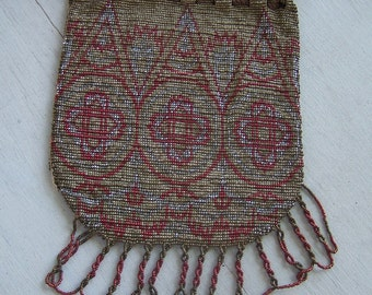 Antique  beaded bag purse French steel Pouch  metal beaded