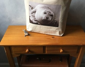 Atlantic Harbor Seal - Boston Harbor Seal - Natural Cotton Canvas Tote - Original Photograph - Made in the USA - Canvas Carryall Tote