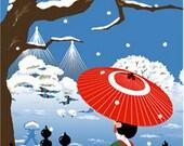 Japanese Tenugui Fabric, Geisha, Kimono, Umbrella, Camellia, Snow, Winter, Blue Fabric, Hand Dyed Fabric, Wall Art Hanging, Gift Idea, h248
