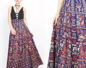 1970s Boho Wrap Skirt Indian Ethnic Maxi Skirt Paisley Floral Skirt Printed Cotton Skirt Blue Red Tie Waist Floor Length Festival (L/XL)